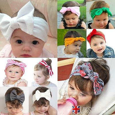 UK Soft Newborn Headband Baby Ribbon Elastic Headdress Kids Hair Band Bowknot