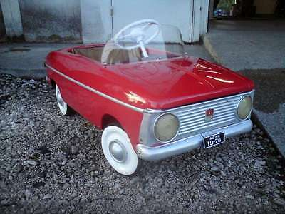 1970s Fully Restored MOSKVITCH Child Kids Red Metal Pedal Car USSR Soviet Russia