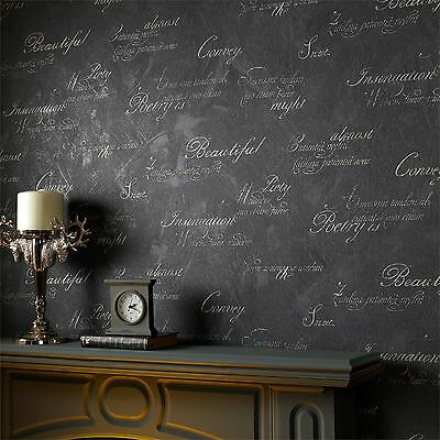 Graham & Brown CONCRETE SCRIPT CHAROCAL WALLPAPER 52cmx10m Stable Colour*UK Made