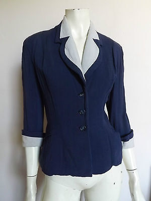 Vintage 40s ORIGINAL ~ Blue Fitted Jacket ~  Contrast Collar & Cuffs S