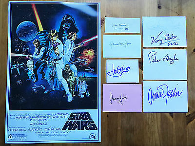 STAR WARS autograph CARRIE FISHER, ALEC GUINNESS, HARRISON FORD signed cast 7!