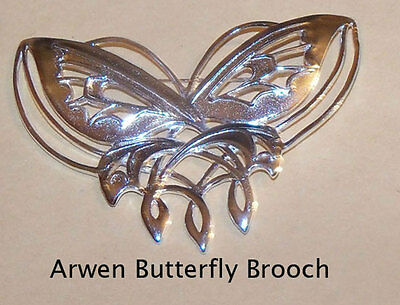 Lord of the Rings The Arwen Butterfly 3 1/2 inches big Brooch Silverplated