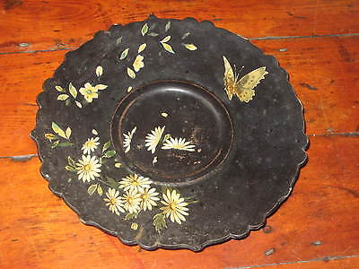19Th Century Paper Mache Plate / Dish  Painted Flowers Butterfly
