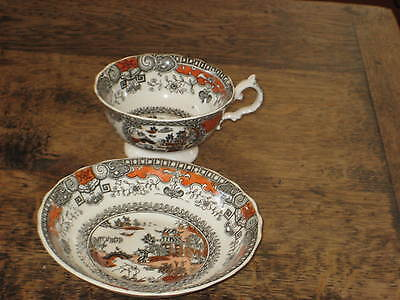 English 19Th Century Cup & Saucer Oriental Inspired Scene