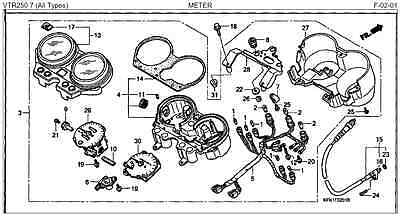 Honda VTR250 2003 - 2007 Meter Assembly Part # 37100-KFK-730