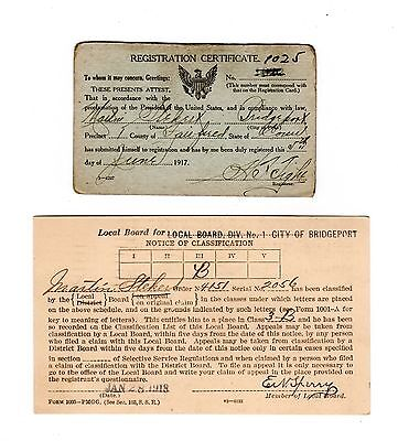 WWI 1917 Registration/Draft Card and 1918 War Department Classification Card