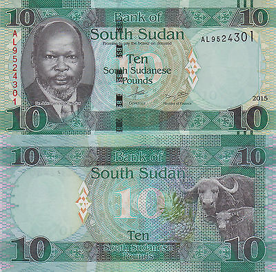 South Sudan 10 Pounds (2015) - John Garang/Water Buffalo/p7-New UNC
