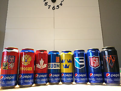 Pepsi World Cup of Hockey 2016 EMPTY cans 473ml Complete Ltd Edition lot of 8