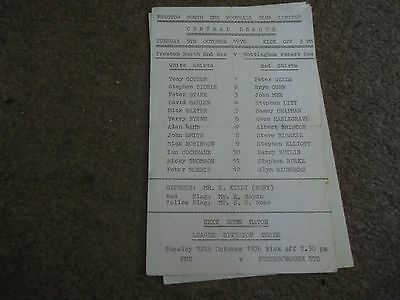 Rare Preston North End V Nottingham Forest Reserves Central League 5Th Oct 1976