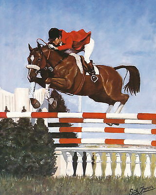 Vintage Equestrian Art Print Sports Horse Show Jumping Horseback At Steeplechase