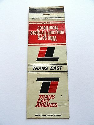 Matchbook Cover ~ TRANS EAST AIRLINES Who Says You Can't Fly Front Strike 20 LIO