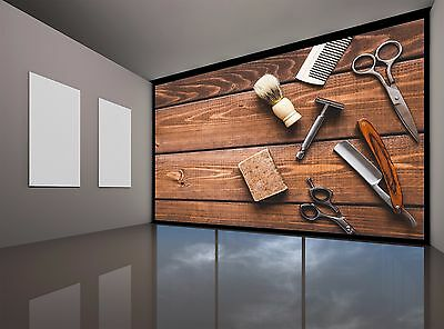 Large Barbershop Tools Photo Wallpaper Large Decor Giant Wall Mural Free Glue