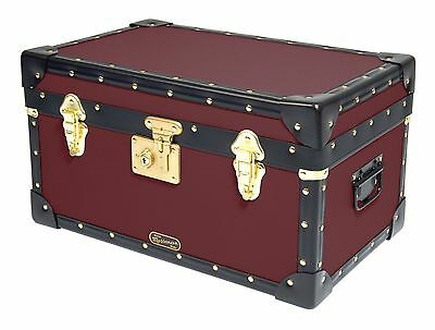 BURGUNDY Traditional British Mossman Made Boarding School Tuck Box Storage Trunk