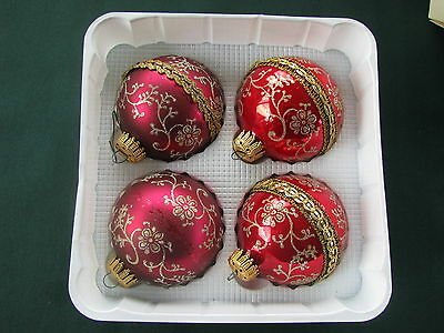 Vintage Krebs Glass Ball Ornaments Box of 4 Red Burgundy Gold Glittered Bands