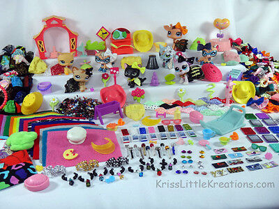 Littlest Pet Shop Accessories Lot Custom LPS Cloths Random Grab Bag Bows Collars