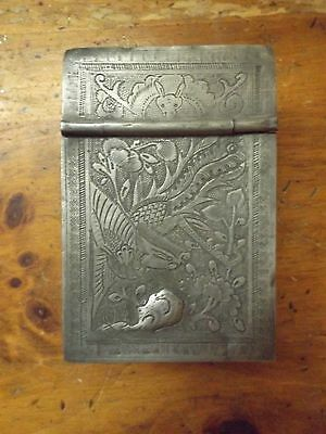 Antique Chinese Asian Oriental Engraved Pewter Jewelry Makeup Box Vanity Mirror
