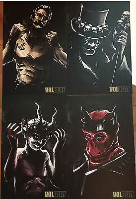VOLBEAT Rare Art Posters Set of 4  Seal the Deal & Lets Boogie Promo Litho Rock