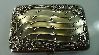 Antique Art Nouveau Rare Silver Hinged Lid Cigarette Box/case Germany Hallmarked