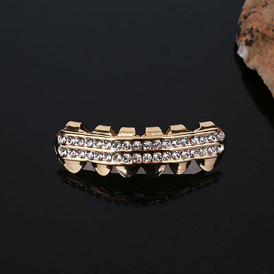 Hip Hop Rock Gold Plated Mouth Rhinestones Teeth Top Fangs Grill Grillz