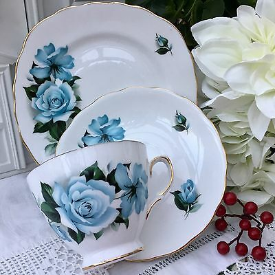 QUEEN ANNE BONE CHINA 1960s TRIO CUP SAUCER PLATE SET ICE BLUE ROSES GILDED 8282