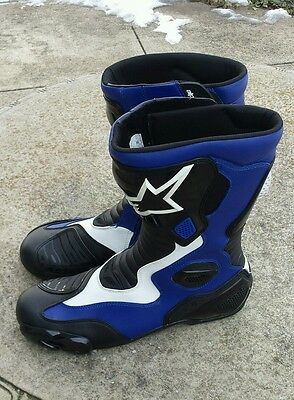 Alpinestars S-Mx 5 Motorcycle Racing Boots Black Blue & White Us 13.5 Eur 49
