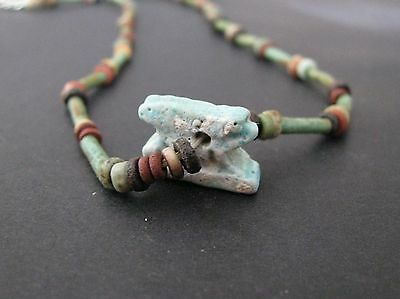 NILE  Ancient Egyptian Hare Amulet Mummy Bead Necklace ca 1000 BC
