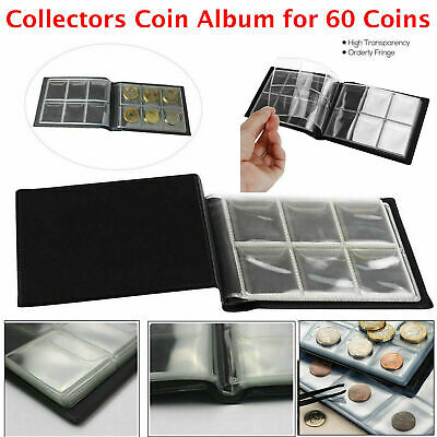 60 Pocket 50P Coin Collection Storage Album Book Holder Penny Folder Money Case