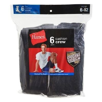 Hanes Men's Black Cushion Crew Socks 6 Pack Durable Sole