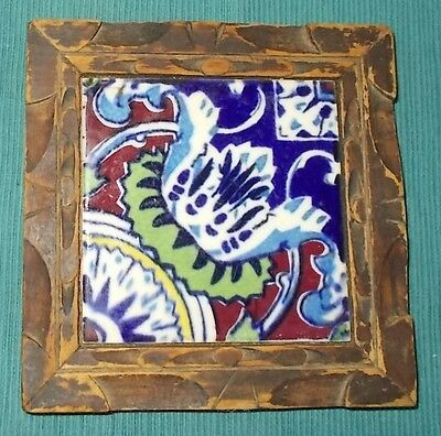 "Vintage 60's/70's Mexican Talavera Tile Trivet in Carved Wood Frame-6-1/8"" SQ"