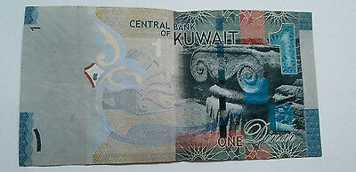 Kuwait 2014 1 Dinar Circulated Banknote From Usa Seller