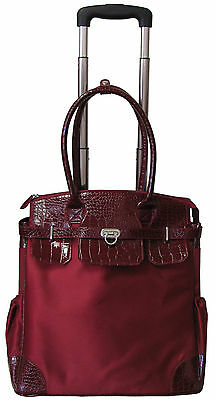 """Amerileather Deluxe Skylar 17"""" Rolling Tote with Laptop Compartment (#70-19)"""