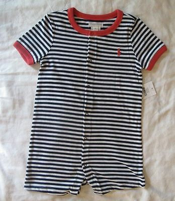 NWT Authentic Ralph Lauren Baby Boys Striped Blue Shortall Contrast Trim 12Month
