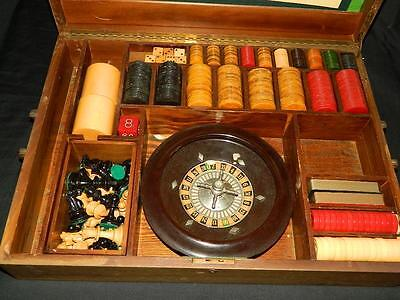 Vintage 1930's Ap Games Deluxe Gaming Roulette Set Wood Box Catalin Chips