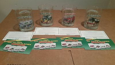 Hess Truck Glasses Set Of 4  New And Clean  Very Durable  With Advertising Cards