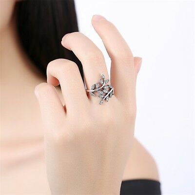 925 Fashion Sterling Crystal Silver Sparkling Leaves Ring, Clear CZ