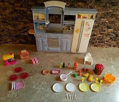 2002 Mixed Lot Of Mattel Barbie Kitchen, Food, Dishes & Accessories