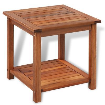 Outdoor Acacia Wood End Table Oil Finished Patio Garden Furniture Porch Poolside