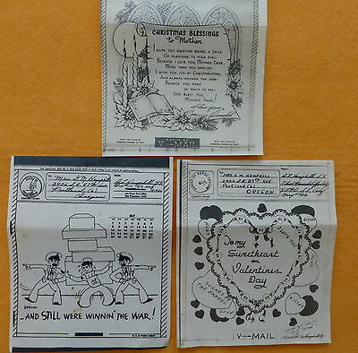 Lot of 3 V-Mail Letter WWII Military APO-926 1945