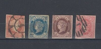 Spain 1855-1864 Queen Isabella Stamps Used Hinged No Gum (#861)