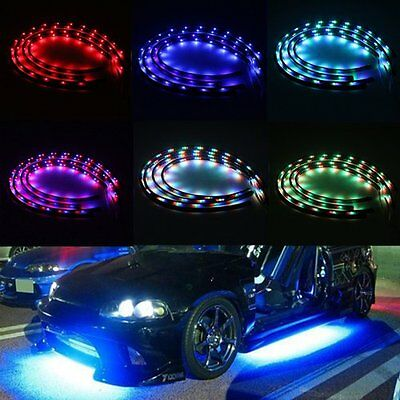 """7 Color LED Under Car Glow Underbody Remote System Neon Light Kit 2 x 24"""" 2 x 36"""