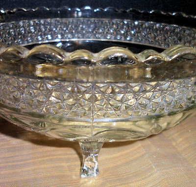 Collectible EAPG Glass Footed Fruit Bowl Pressed Floral Design Glasswar Imperial
