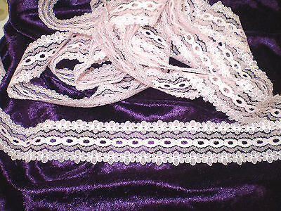 10 metres x 3cm wide of pretty pink/white eyelet/knitting in/coathanger lace