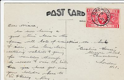 GB KGV 1935 Jubilee Postcard Crowcombe s.ring cds
