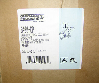"""Chicago Faucet #3400-CP Deck Mount, Three Hole, 4"""" Centers Lav Metering Faucet"""