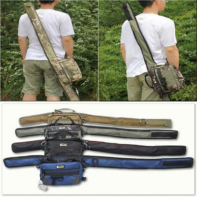 2 in 1 Fishing Rod Sleeve Pouch Tackle Storage Case Backpack Waist Bum Tote Bag