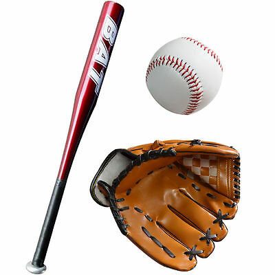 "Top Quality 25""30"" Aluminium Baseball Bat Lightweight TRANING GLOVES SOFTBALL ET"