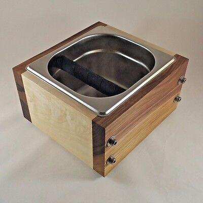 RöstHaus Knock Box - Walnut/Maple and Stainless - Handmade for Espresso