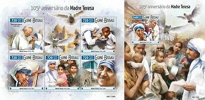 Z08 GB15602ab GUINEA-BISSAU 2015 Mother Teresa MNH Set
