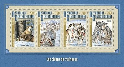 Z08 IMPERFORATED CA16208a CENTRAL AFRICA 2016 Sledge dogs MNH