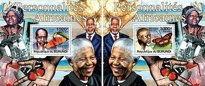 Z08 Imperforated BURdelux22 BURUNDI 2012 Celebrities of Africa 2 x s/s MNH